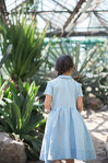 Sky Blue Twirl Linen Dress