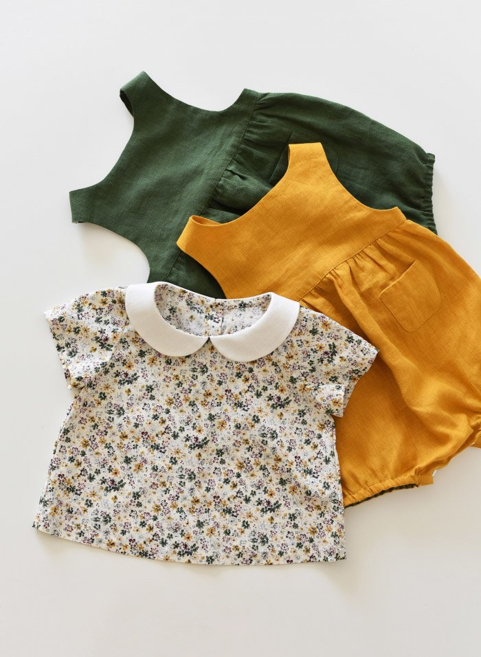 Linen Baby Romper and Cotton Top with Peter Pan Collar