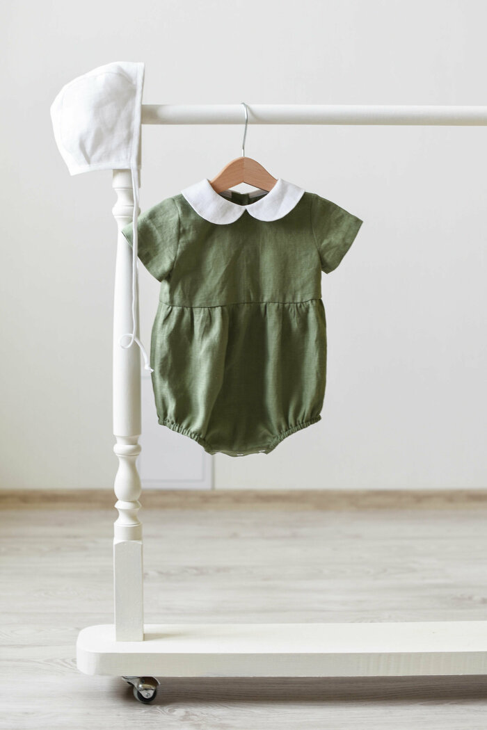 Sage Green Baby Romper with Peter Pan Collar