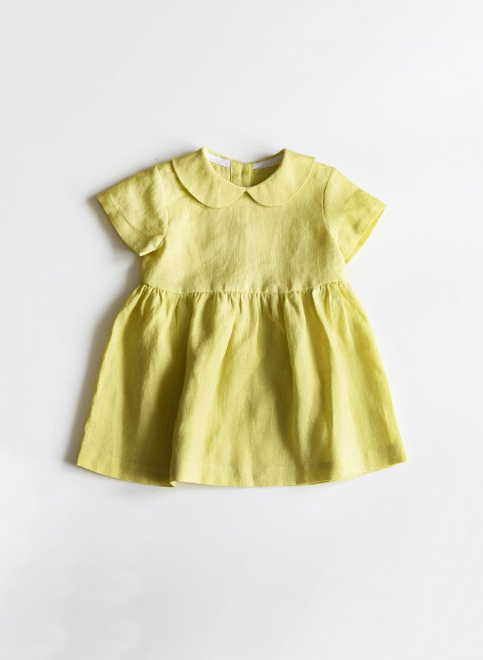 Lemon Yellow Linen Baby Dress