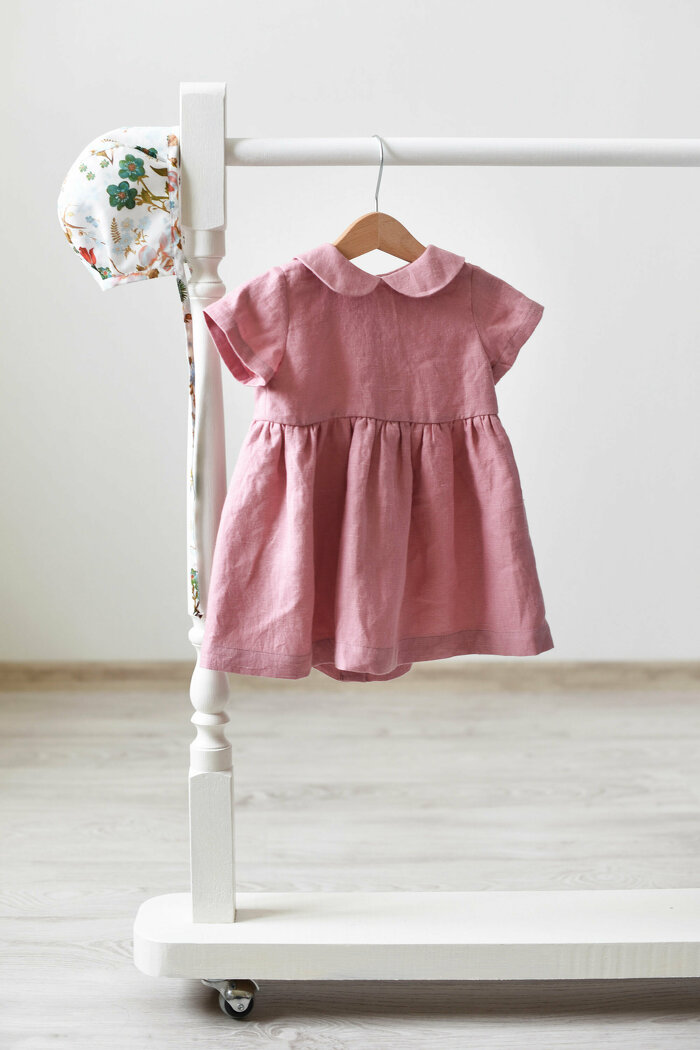 Dusty Pink Linen Dress with Short Sleeves and Peter Pan Collar