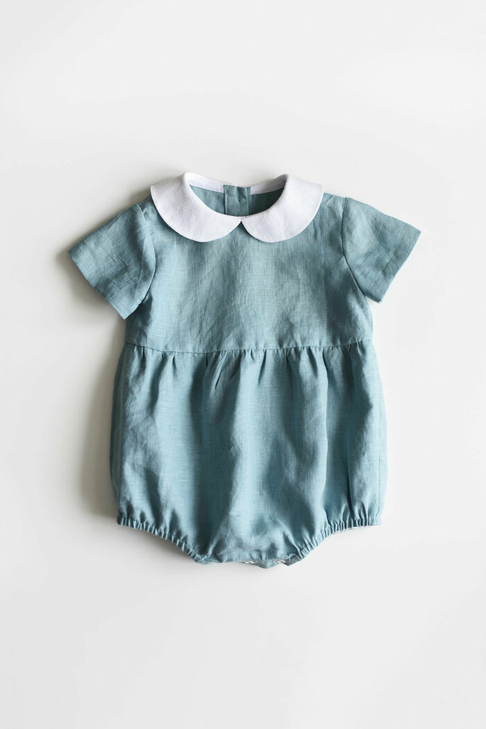 Dusty Blue Baby Romper with Short Sleeves and Peter Pan Collar