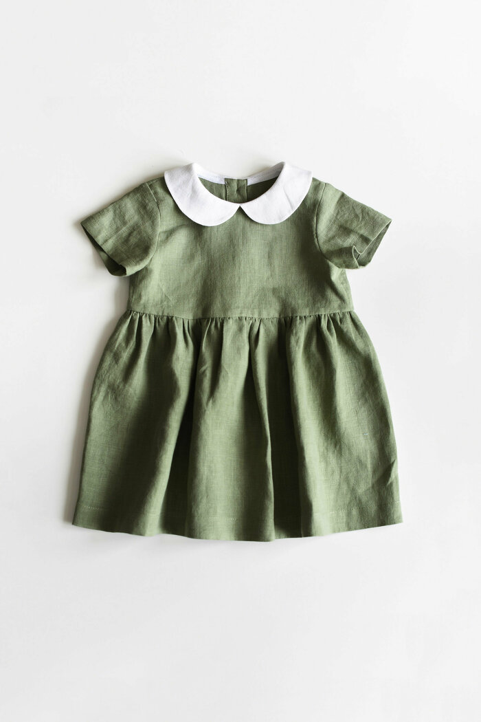 Sage Green Linen Dress with Short Sleeves and Peter Pan Collar