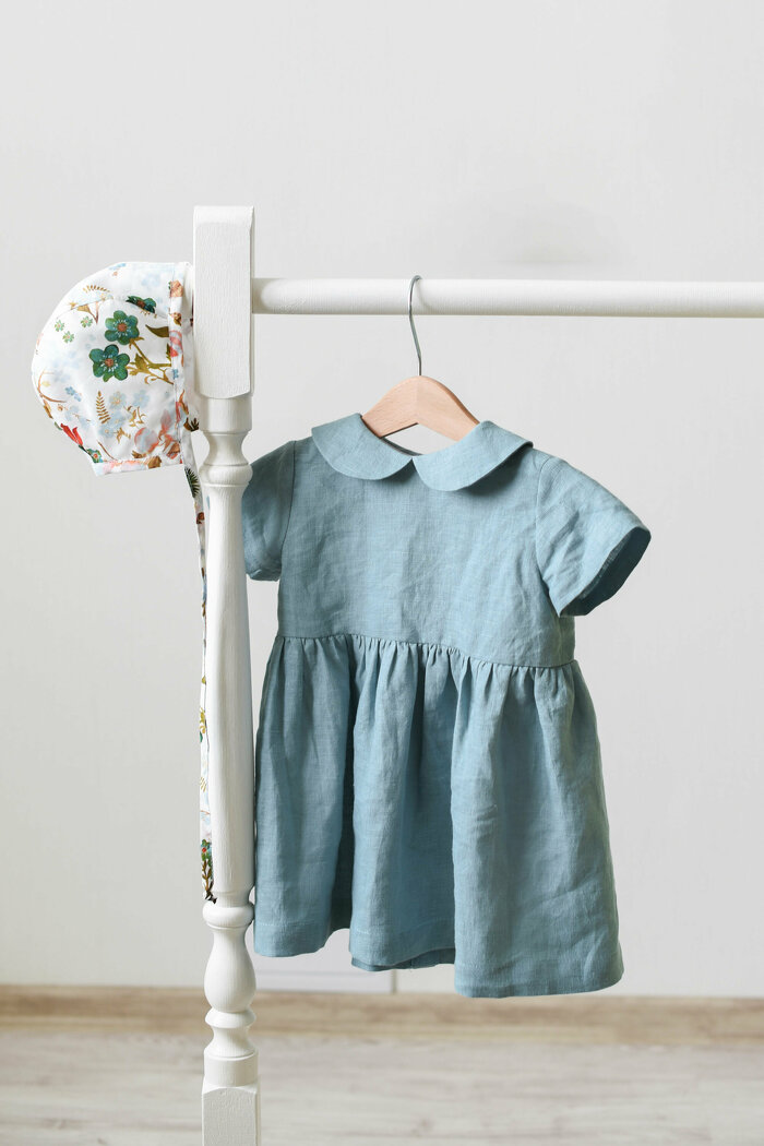 Dusty Blue Linen Dress with Short Sleeves and Peter Pan Collar