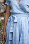 Linen Wrap Dress, Rustic Wedding Dress, Blue Linen Dress, Bridesmaid Dress, Maternity Dress, Women Dress