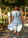 Sky Blue Wrap Dress with Twirl Skirt and Short Sleeves