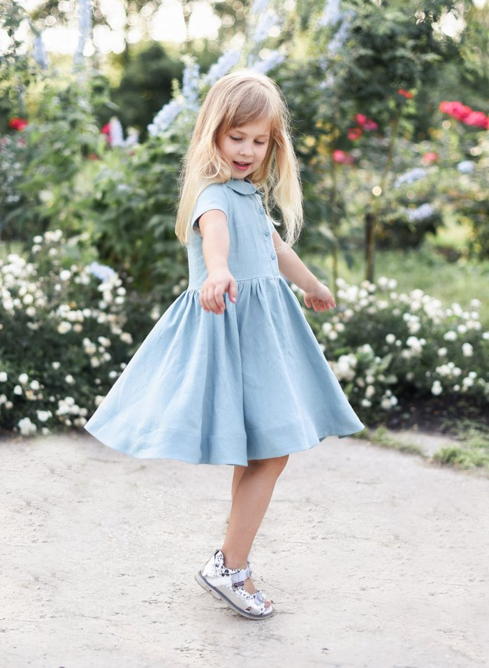 Pale Blue Twirl Linen Dress
