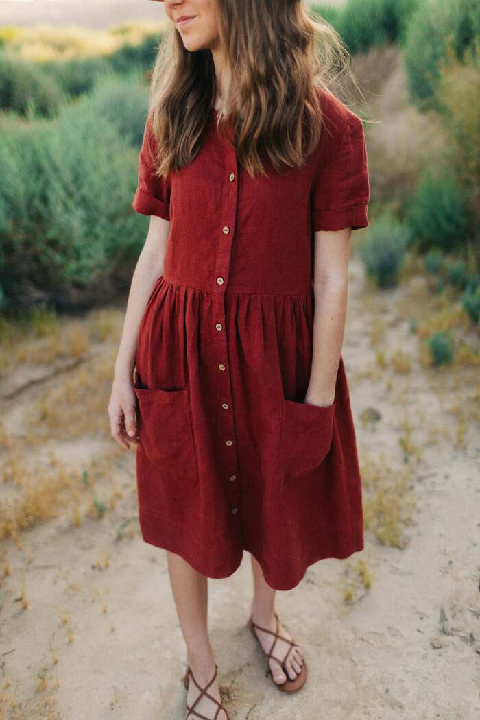 Loose Button Down Linen Dress with Short Sleeves and Pockets