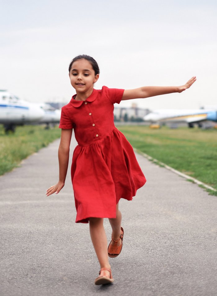 Red Twirl Linen Dress