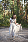 Natural Linen Pinafore Dress with Twirl Skirt and Elastic Waist