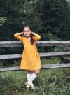 Wrap Mustard Linen Dress for Girls