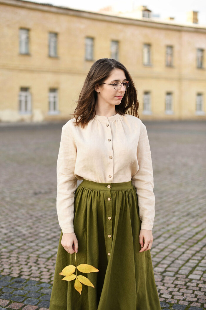 Beige Linen Women Blouse with Long Sleeves and Stand Collar