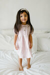 Pale Pink Dress with Peter Pan Collar and Short Lantern Sleeves