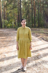 Olive Button Down Shirt Dress with Long Sleeves and Pockets