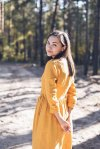 Mustard Wrap Dress with Long Sleeves